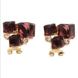 Brown square crystal golden earrings